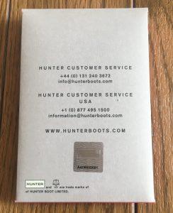 ハンター 保証書 シリアルナンバー