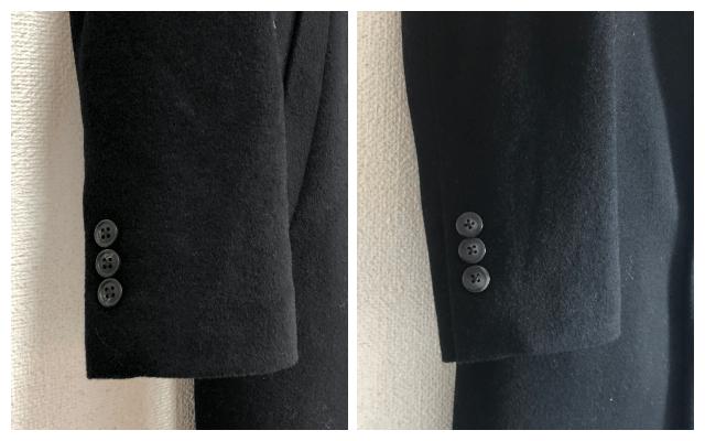 ユニクロのウールカシミヤチェスターコートの袖ボタンを変更してみた