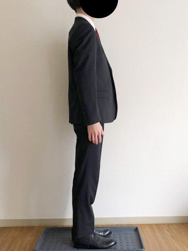 ユニクロセミオーダースーツを実際に着てみた横姿